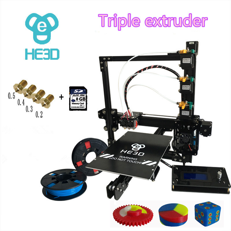 HE3D 2017 Newest prusa EI3 triple nozzle large print size 3D printer kit with 2rolls filament+8GB SD card as gift