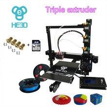 HE3D 2017 новые Prusa EI3 тройной сопла большой размер печати 3D комплект принтера с 2 рулона нити + 8 ГБ sd карты в качестве подарка