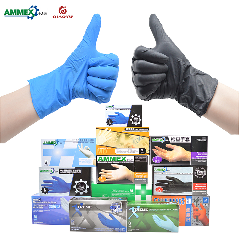 AMMEX Disposable Black/Blue Nitrile Gloves(Powder Free) 100 pieces /Industrial Production Mechanical Maintenance Tattoo Gloves цена