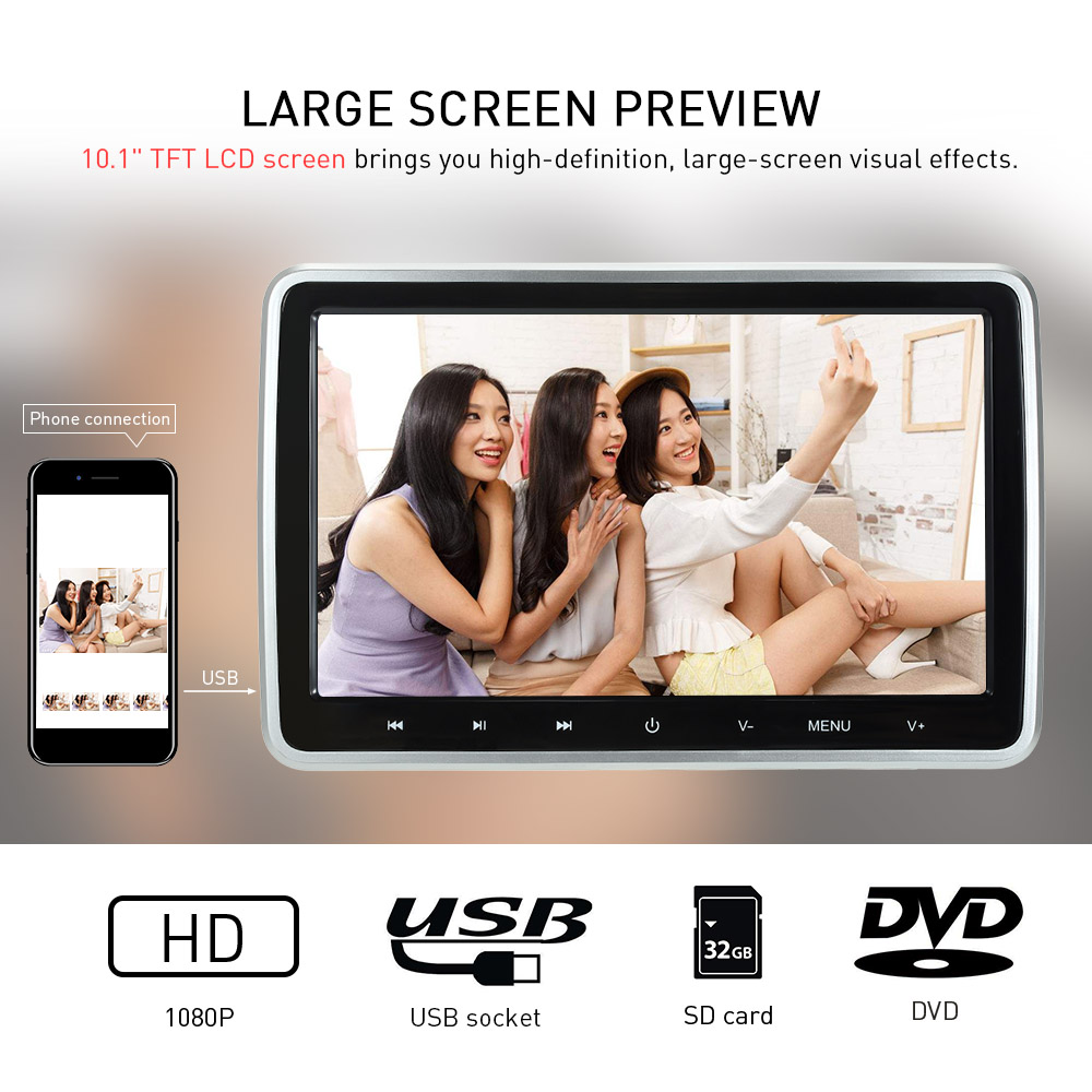 10 1 inch Digital Screen Touch Key Tablet Style Car Headrest DVD Player Plug and Play