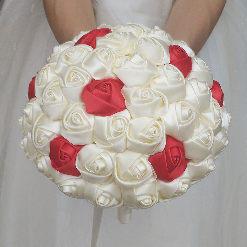 Image 2 - WifeLai A Super Good 100%Handmade Ribbon Flower Wedding Bouquets Bridal Bouquet Ivory Boque noiva Accept your Idea Custom W223 1wedding bouquet bridalbridal bouquetwedding bouquet -