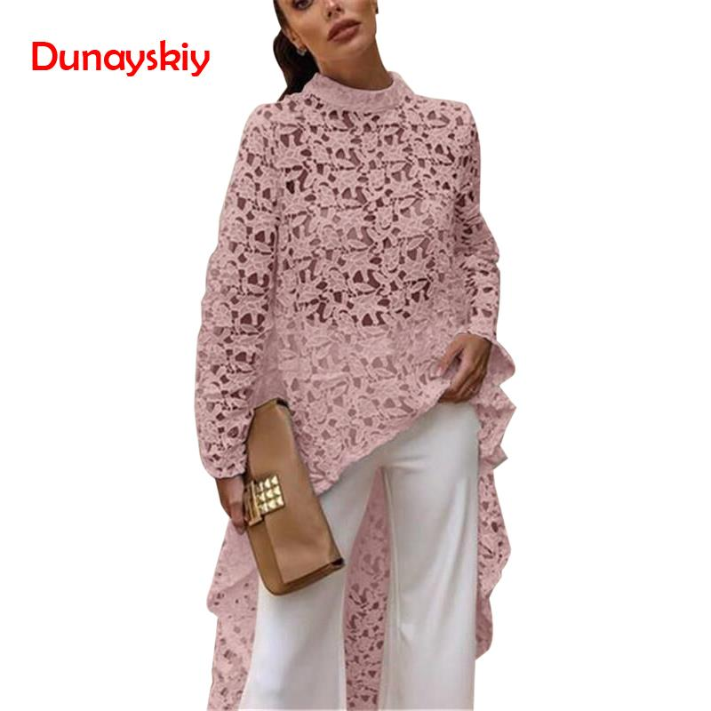2019 Spring Autumn Women Hollow Out   Shirt   Lace Long Sleeve Irregular Tops   Blouse   Loose Flora Printed   Blouse   Tops New White