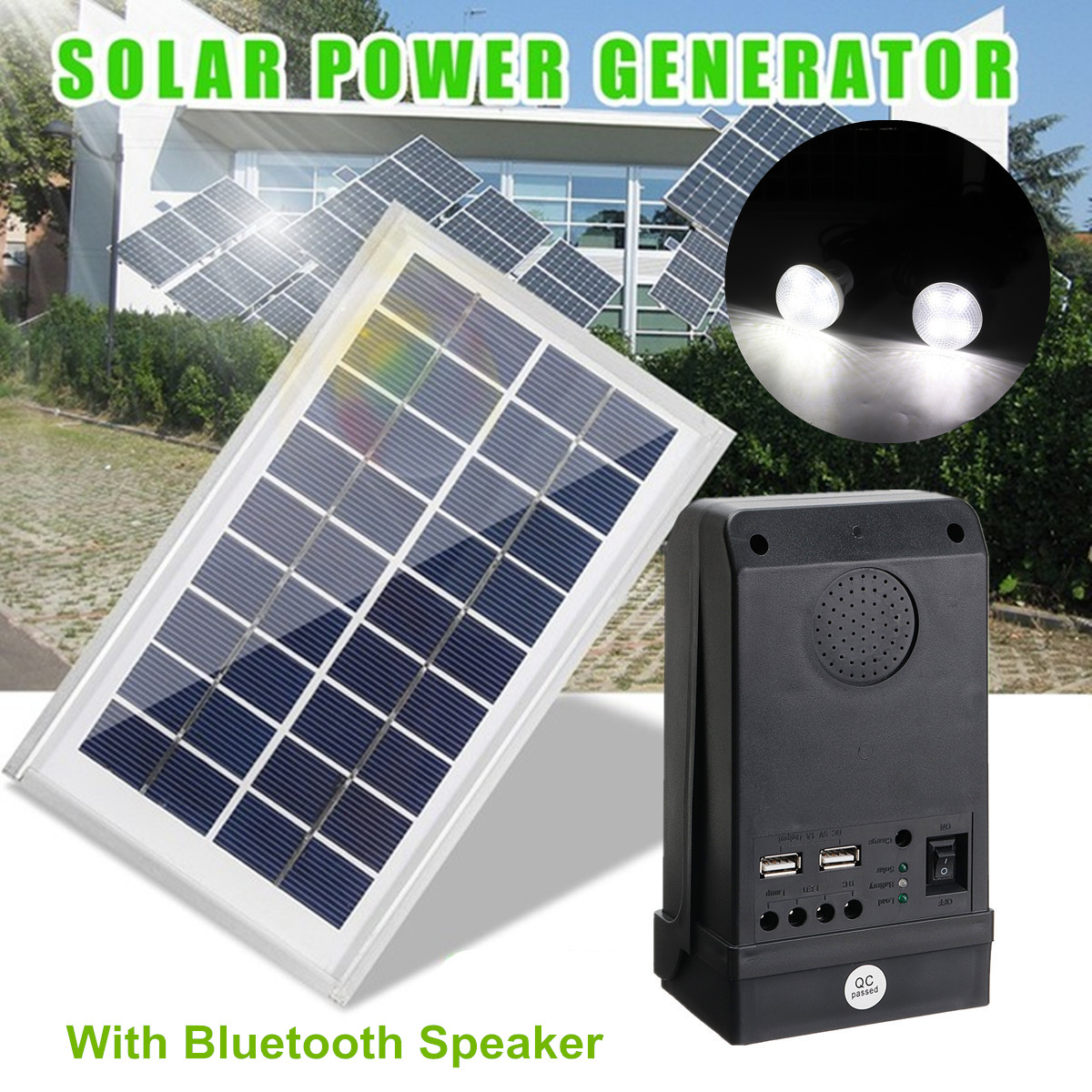 Solar Panel Power Generator 5V 2A LED Light USB Charger System with Bluetooth Speaker Reusable Durable Camping Large Capacity diy 5v 2a voltage regulator junction box solar panel charger special kit