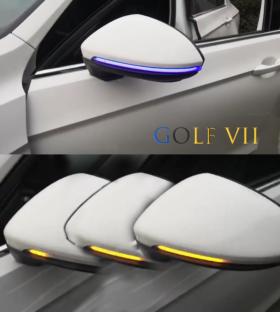 Charm Blue Two tone LED Flowing Rear View Dynamic Sequential MIRROR Water Turn Signal Light For