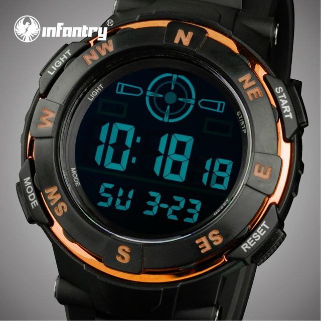 INFANTRY Luxury Brand Men Sports Watches LED Digital Military Stopwatch Outdoor Water Resistant Wristwatches Relogio Masculino