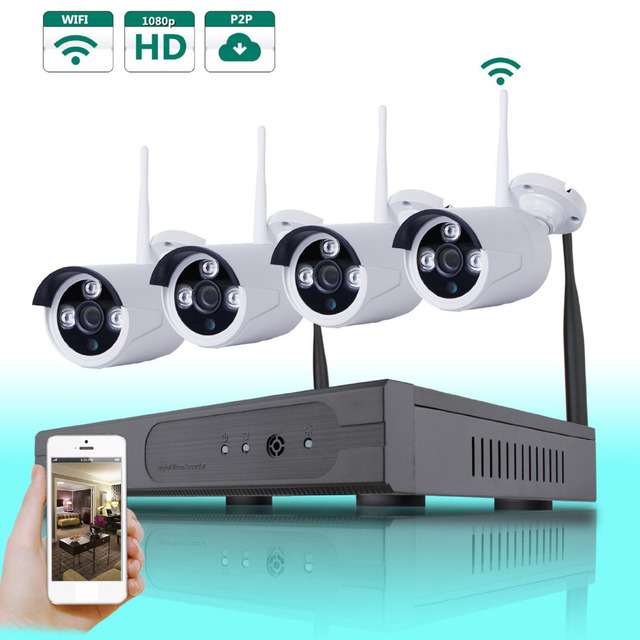 AUTO-PAIR WIRELSS SYSTEM 4 *1.0 Megapixel  HD WIFI Outdoor IP Network Home  Camera System with 4CH 720P Security NVR Wifi Kit