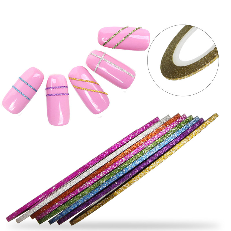 8pcs/lot 1mm Scrub Nail Striping Tape Line Mixed Color Nail Art Stickers DIY Manicure Tools Women Nail Tips Supply WY632 14 rolls glitter scrub nail art striping tape line sticker tips diy mixed colors self adhesive decal tools manicure 1mm 2mm 3mm