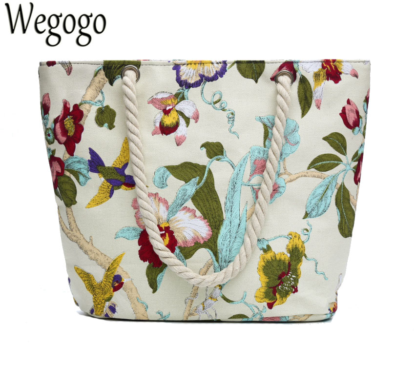 Vintage Women Handbag Beach Bag Floral Bird Printed Canvas Casual Shoulder Bag For Lady Single Shoulder Bag Shopping Totes japanese pouch small hand carry green canvas heat preservation lunch box bag for men and women shopping mama bag