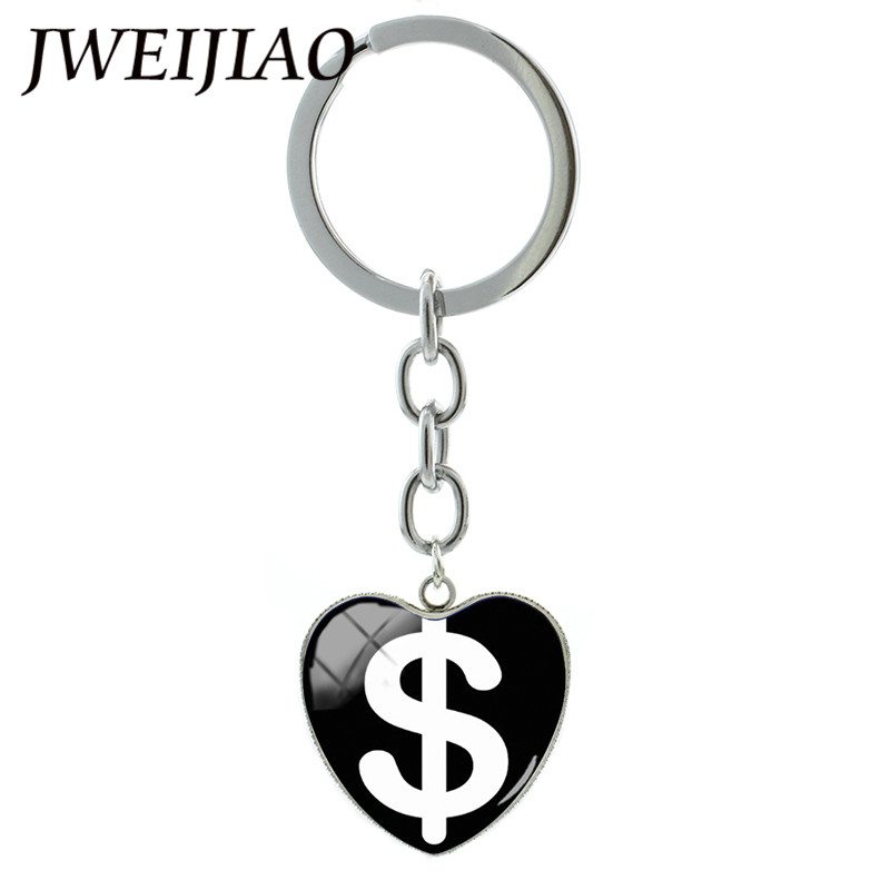Hot Sale Jweijiao Heart Shape Dollar Symbol Logo Key Chain Us Money