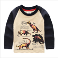 Crianças T-Shirts Dinossauro Algodão Top Camisa Criança Roupas Primavera Outono Meninos Meninas Roupa de Manga Longa Outerwear Roupas Para Crianças