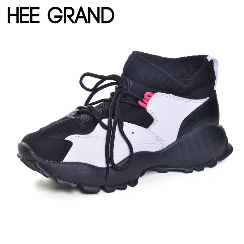 HEE GRAND Wedges Women Boots 2017 New Platform Shoes Woman Creepers Slip On Ankle Boots Fashion Casual Women Shoes XWC1215 hee grand casual wedges sandals 2017 summer beach women shoes platform buckle comfort creepers fashion shoes woman xwz3812