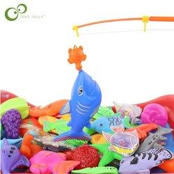 Juego de juguete de pesca magnético para niños, caña de pescar + 15 uds, pez 3D, juguetes de baño para bebés, peces al aire libre y caña de pescar, GYH, 16 Uds.