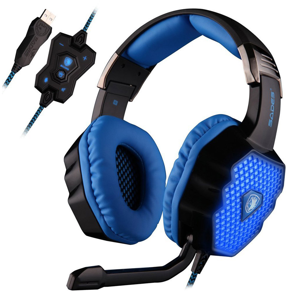 SADES A70 USB 7.1 Surround Sound Stereo PC Gaming Headphones with Volume Control Breathing LED Light Headsets for Computer Gamer