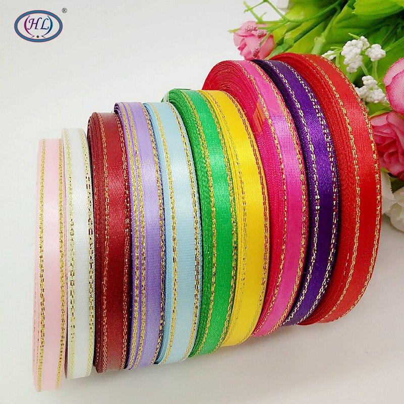 HL 10 rolls (250 yards) 6mm 10 colors Phnom penh DIY weaving satin ribbon packing belt wedding Christmas decorations A687