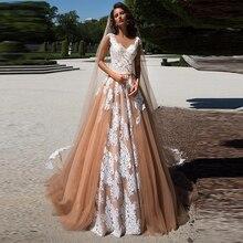Champagne Sexy V-Back Appliques Backless Boho Wedding Dress Gown Sofuge Vestido De Noiva Dubai Arabic Suknia Slubna