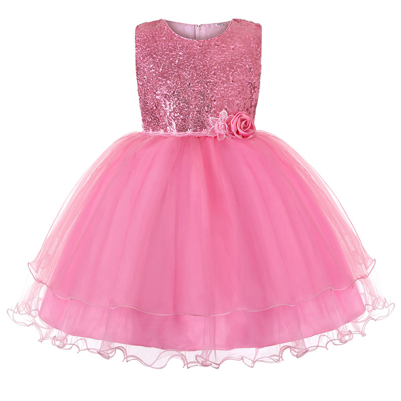 Sequined Princess Dress First Communion Dresses Girls Ball Gown For Kids Children Party Dress Girl Dress Wedding Baby Costume