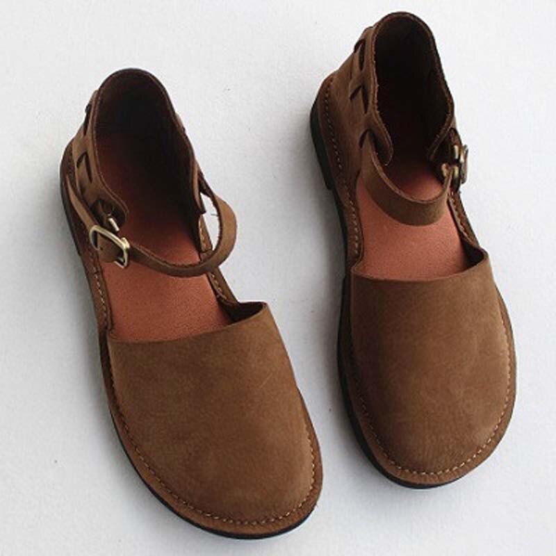 Summer leather Sen female style literary retro Baotou female sandal