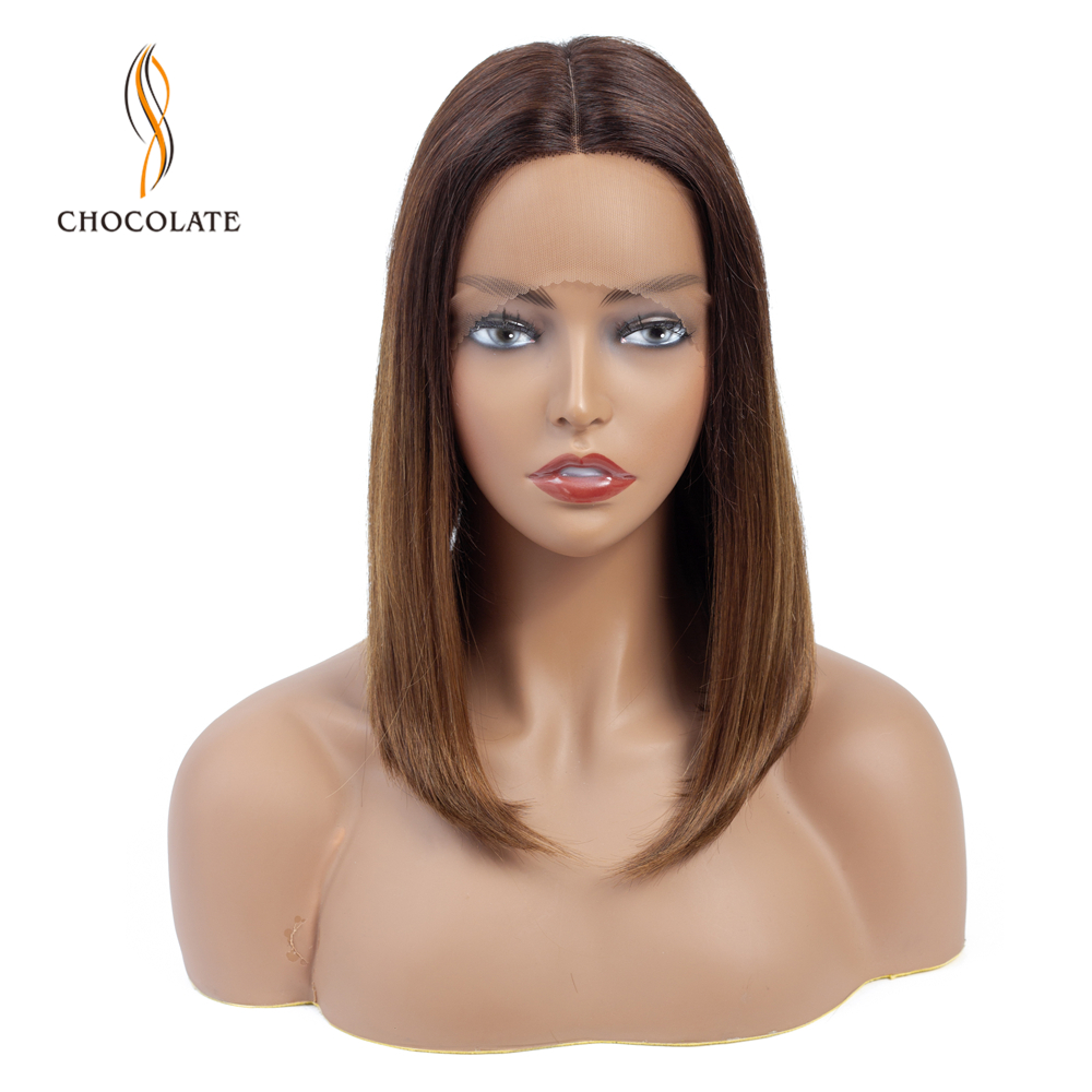 T Shape Lace Human Hair Wigs For Black Women Ombre Brown Brazilian Remy Hair Bob Wig With Pre Plucked