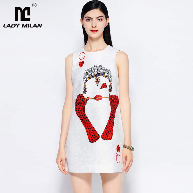 Lady Milan Womens O Neck Sleeveless Dobby Printed Beaded A Line Designer Fashion Summer Runway Dresses
