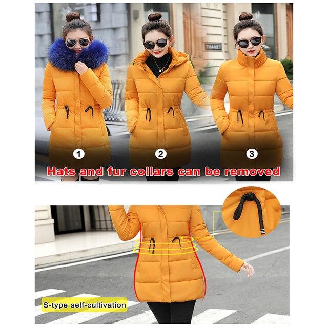 Winter Jacket Women New 2018 Coats Artificial raccoon hair collar Female Parka black Thick Cotton Padded Lining Ladies S-3XXXL 3