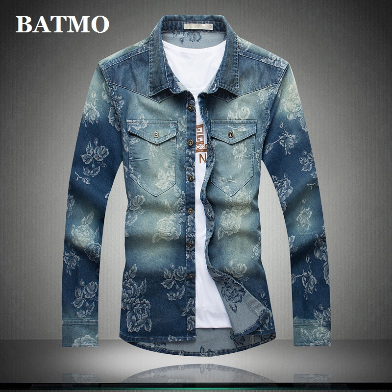 Batmo 2020 New Arrival Summer High Quality Cotton Printed Casual Men's Denim Shirt,smart Casual Shirt Men ,plus-size M-5XL 5510