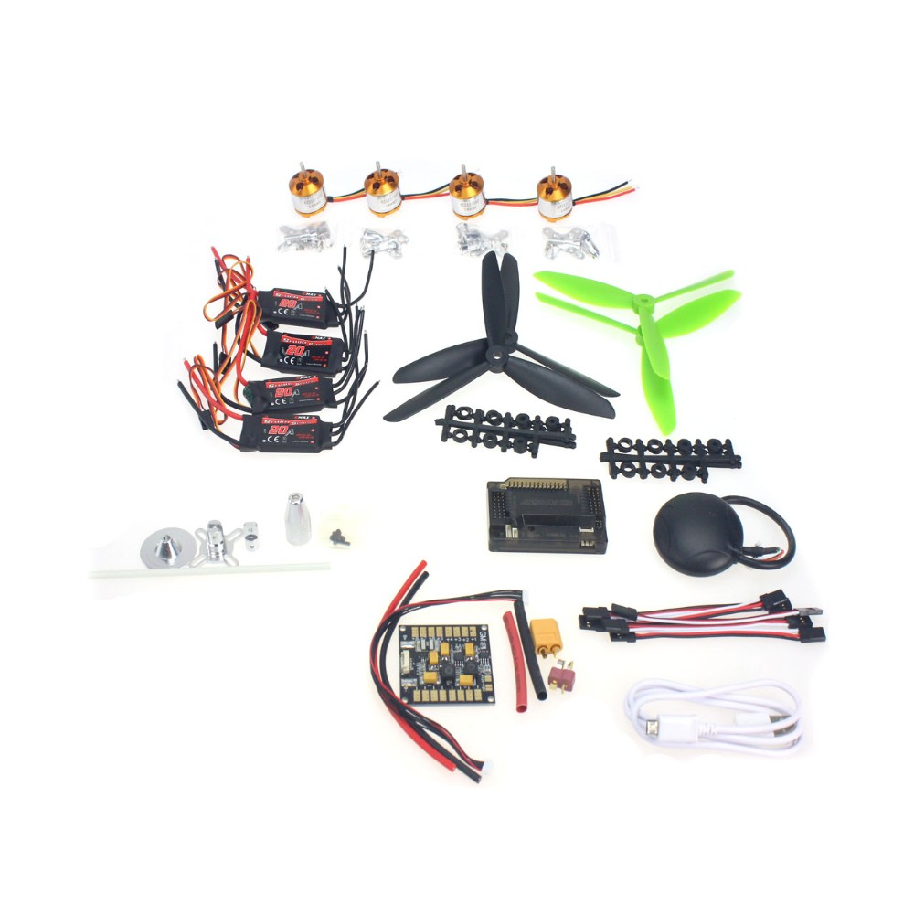 GPS APM2.8 Flight Control EMAX 20A ESC 1400KV Brushless Motor 7045 Propeller for 4-axis DIY GPS Mini Drone 30a esc bec 920kv brushless motor carbon firber propeller gps apm2 8 flight control for 4 axis diy gps drone