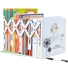 1pcs Fashion Creative Retractable Bookends Metal Black White Document File Books Ends Support Holder School Office Supplies