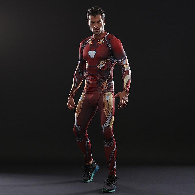 Avengers: Endgame Costume Iron Man Tony Stark T-shirt Pants Full Set Adult Cosplay Costumes Top Men Tights Sports Quick-dry