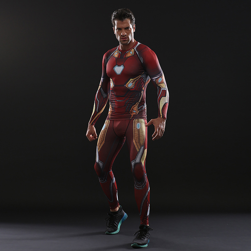 Avengers: Endgame Costume Iron Man Tony Stark T-shirt pantalon ensemble complet adulte Cosplay Costumes haut hommes collants sport séchage rapide