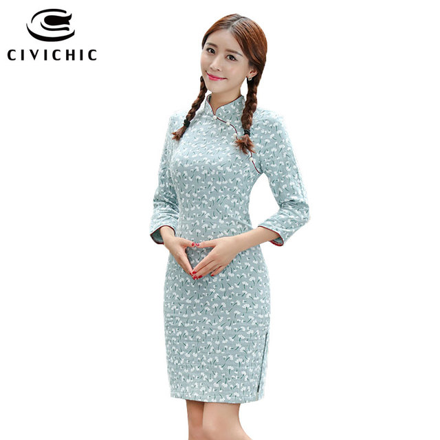 585a99dafc4 CIVICHIC New Small Fresh Girl s Qipao Classic Chinese Cheongsam Spring  Autumn Summer Stylish Dress Floral Casual Vestidos QP132