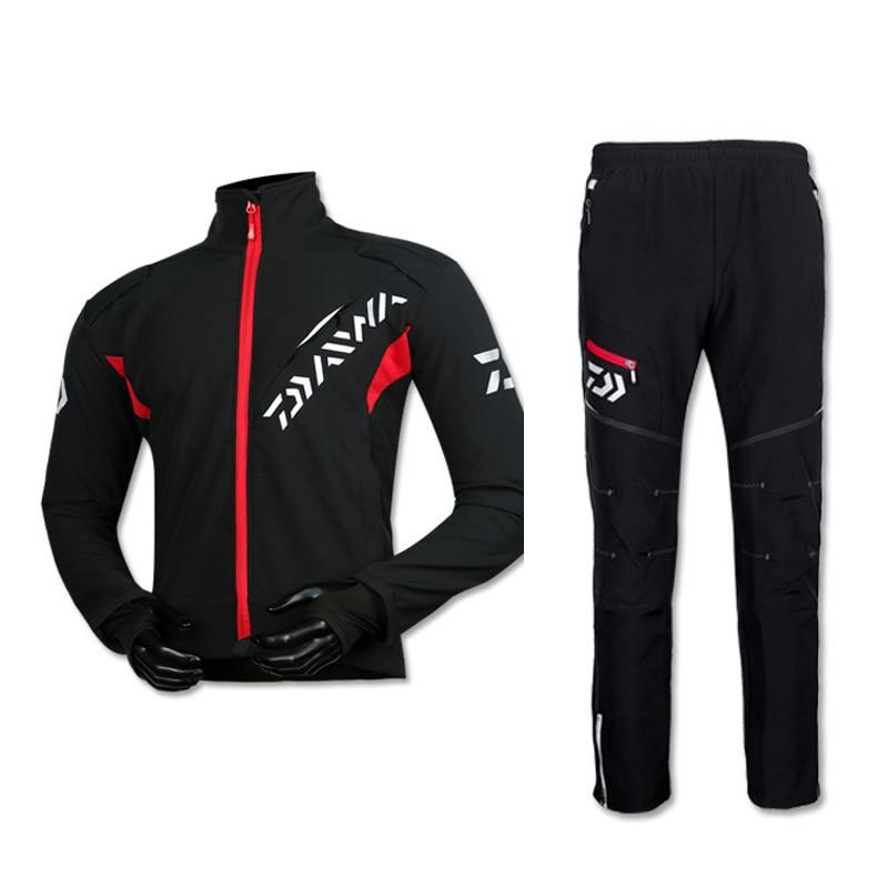 2018 NEW DAIWA Men Outdoor Sports Long Sleeve Fishing Clothes Pants Coat Suit Warm Jacket Parka Waterproof Hooded Clothing|Fishing Clothings| |  - title=