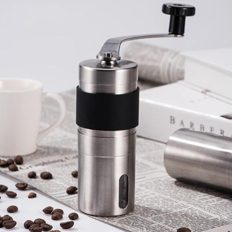 Gümüş kahve değirmeni Mini paslanmaz çelik el manuel el yapımı kahve çekirdeği çapak öğütücüler değirmeni mutfak aracı öğütücüler