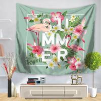 Flamingo rosa Tapeçaria Tecido Frutas Tropicais Planta Verde Artificial Deixa Flor Do Jardim Pendurado Na Parede Da Sala de Decorações de Casamento