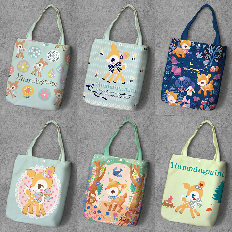 Humming mint Deer Cartoon Student Printed Canvas Shopping BackpackLarge Capacity Tote Fashion Ladies Casual Shoulder BagsHumming mint Deer Cartoon Student Printed Canvas Shopping BackpackLarge Capacity Tote Fashion Ladies Casual Shoulder Bags