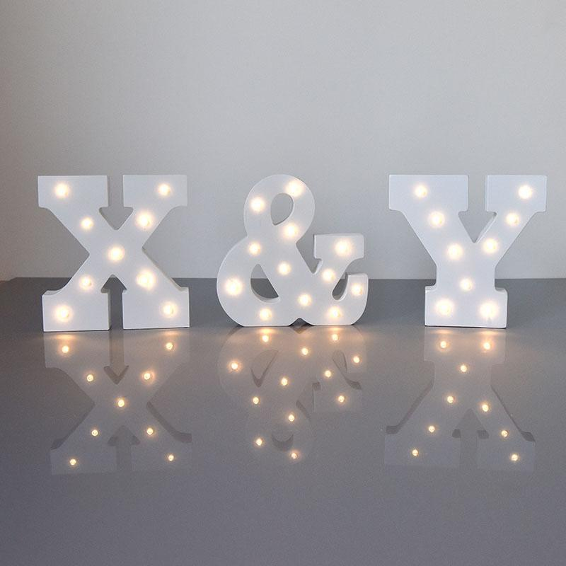15cm White Party Decoration Led Letter Lamp Wedding Party Window Display Scrabble Dessert Table Decoration Letter Light