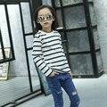2017 spring fall hot children t-shirt 4-13 year old girl black and white striped long-sleeved wild bottom shirt