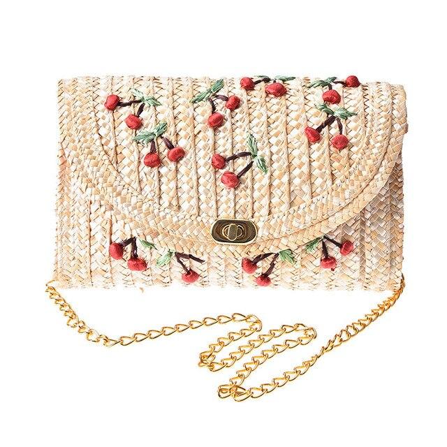 e1e977d734 Woven Day Clutch Flap Bag Beach Package Crossbody Chain Bags Summer Cherry  Straw Messenger Bags