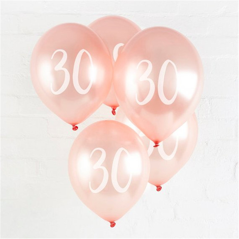 10pcs 12inch Rose Gold Latex Balloons Rose Gold 30 40 50 60 <font><b>70</b></font> Years Happy <font><b>Birthday</b></font> <font><b>Party</b></font> Decorations Adult Foil Helium Balloon image