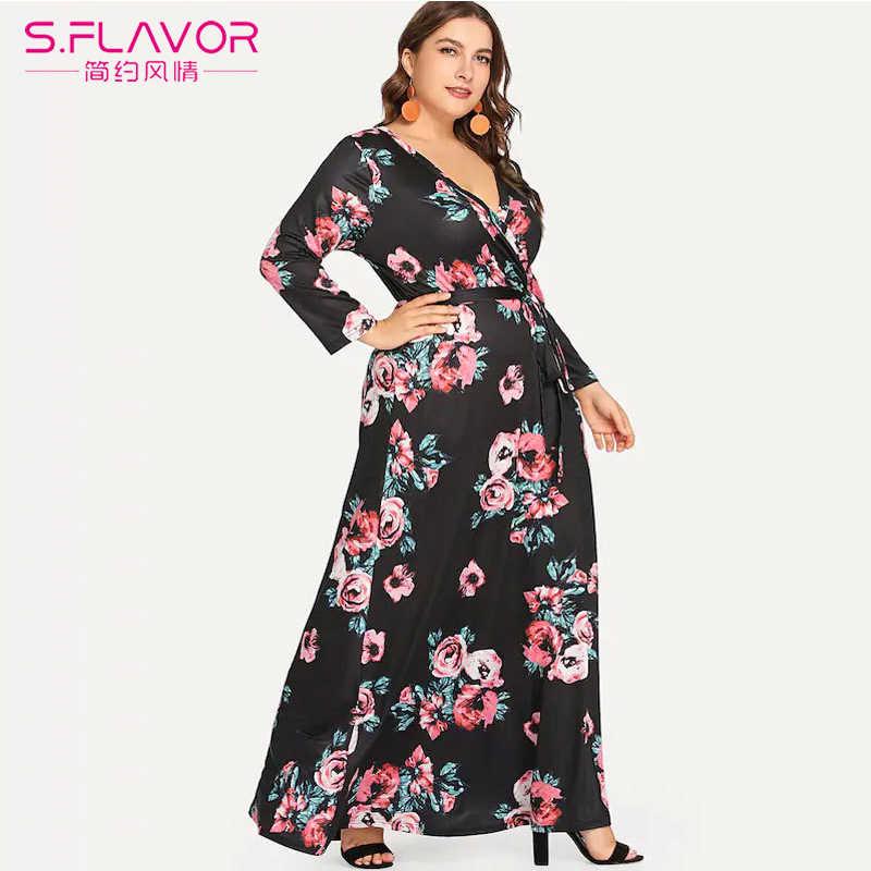 S. FLAVOR размера плюс женское длинное платье с цветочным принтом весеннее летнее сексуальное пляжное платье с v-образным вырезом и длинным рукавом богемное платье с поясом