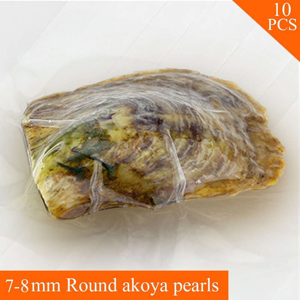 10pcs charming 7-8mm round akoya pearl in oyster with vacuum package цена