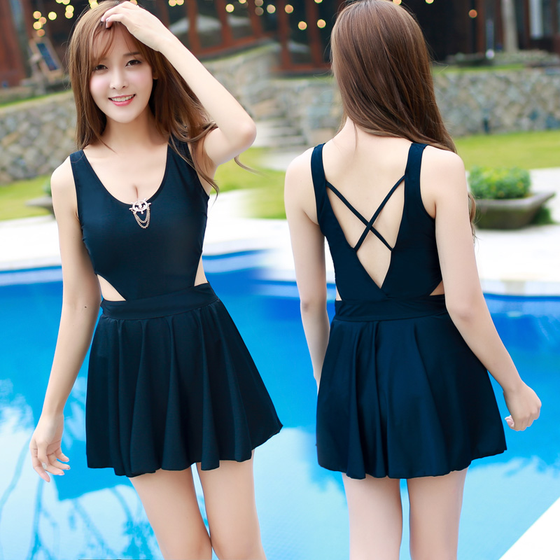 Rhyme Lady Asia style swimwear girl 2 color cross back bathing suit female dress cute beach wear tt tf ths 02b hybrid style black ver convoy asia exclusive