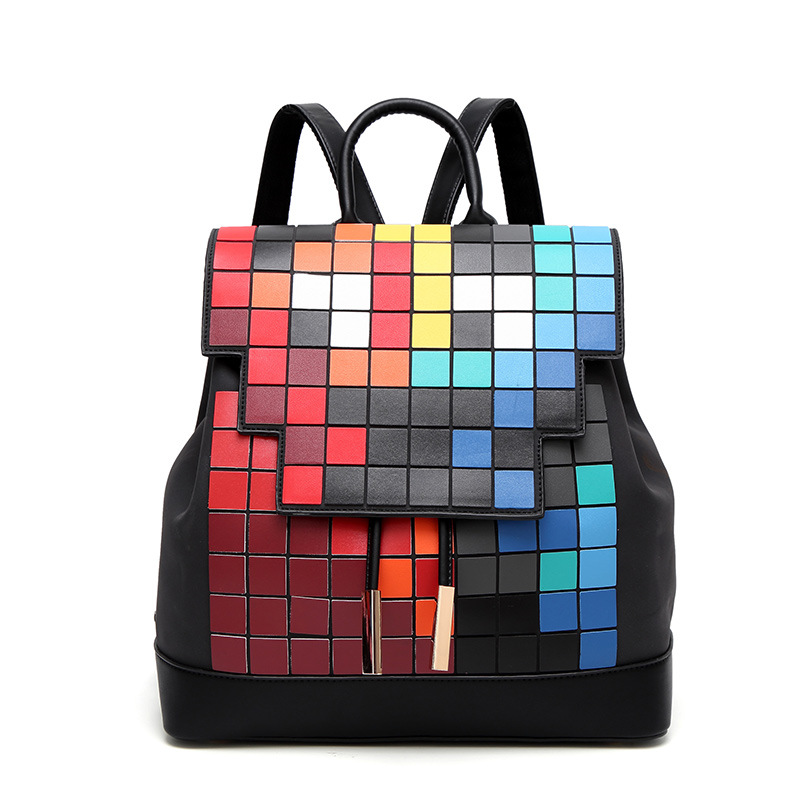 Women Backpack bao Geometric mosaic PU Leather Mochila Escolar School Bags For Teenagers Girls Top-handle Backpacks female women backpack high quality pu leather mochila escolar school bags for teenagers girls top handle rivet sequins backpack fashion