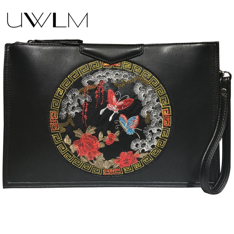 Clutches Clutches Women Bag Luxury Handbags Embroidered Wrist Bag 2018 Designer Envelope Messenger Bag Soft Leather Ladies Clutch Purse A Plastic Case Is Compartmentalized For Safe Storage