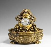 8'' brass carved dragon auspicious fortune treasure Jin Chan toad fountain