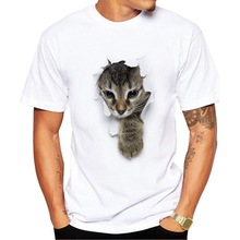 цена на Fashion Man T Shirt White O Neck Short Sleeve 3D Cat Print S-XXXL Plus Size Modal Soft Quick Drying Clothing Men Party T-shirt
