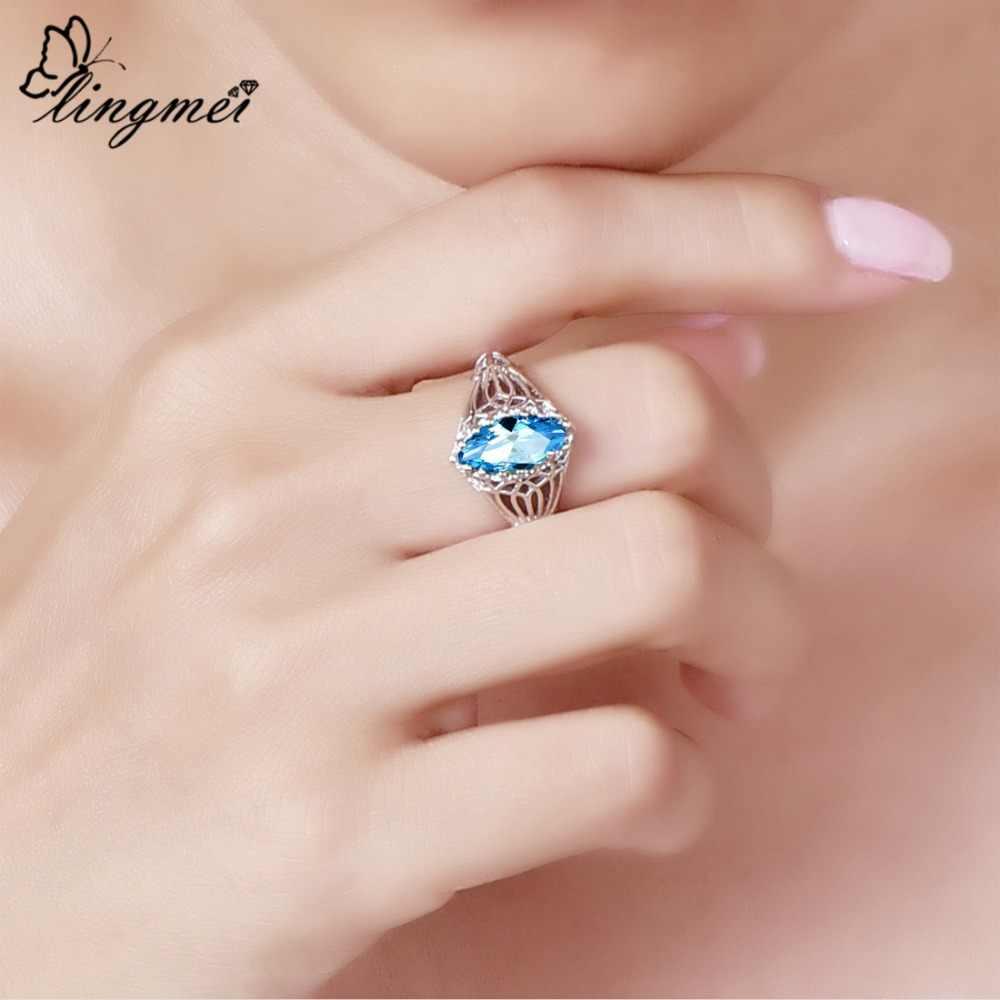 Lingmei סיטונאי חתונה אירוסין מרקיז לחתוך כחול & ירוק מעוקב זירקון כסף 925 טבעת גודל 6 7 8 9 10 11 12 13 מדהים