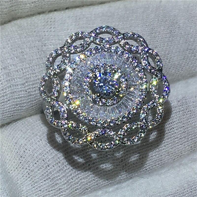 De luxe Grande Fleur Bijoux 925 bague En Argent Sterling Sona Vert 5A zircon Pierre Engagement Wedding Band Anneaux pour les femmes De Mariée
