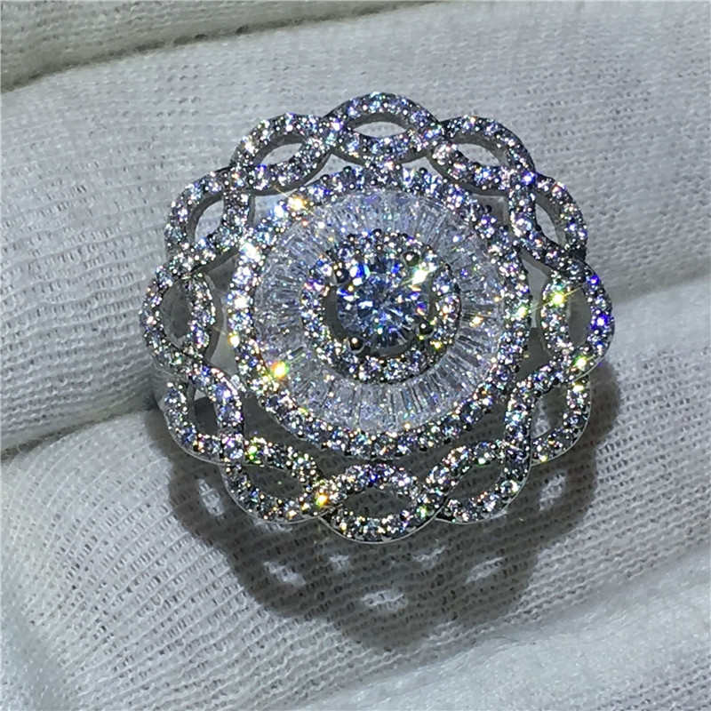 Luxury Big Flower Jewelry 925 Sterling Silver ring Sona Green 5A zircon Stone Engagement Wedding Band Rings for women Bridal