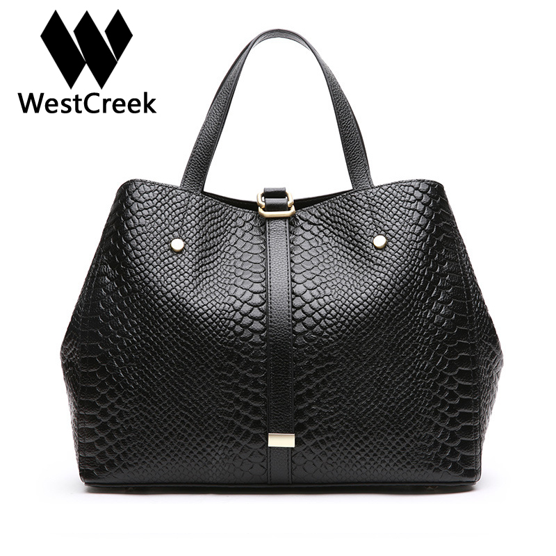 Westcreek Brand Genuine Leather Serpentine Women Handbag Casual Crossbody Bag Retro Shoulder Bag Female Hobos Totes 2017 new casual snake pattern genuine leather women handbag serpentine fashion shoulder bag luxury brand designer female totes