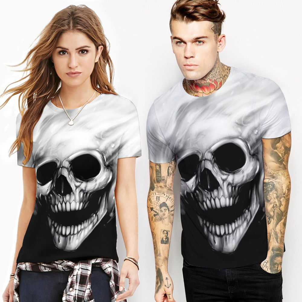 New skull digital printing round neck short sleeves Top Men's T-shirt  lovers European style summer casual Pullover Top